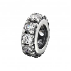 Jeweled - 925 Sterling Silver Beads with Zirconia or Crystal A4S31058