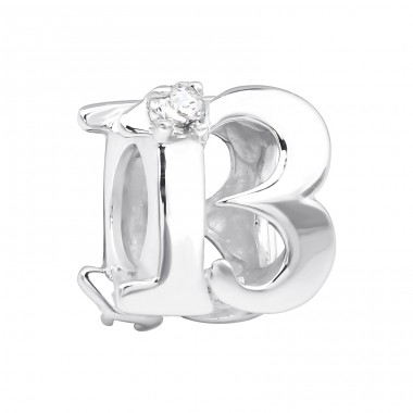 Number Thirteen - 925 Sterling Silver Beads with Zirconia or Crystal A4S3653