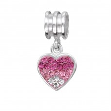 Hanging Heart - 925 Sterling Silver Beads with Zirconia or Crystal A4S3715