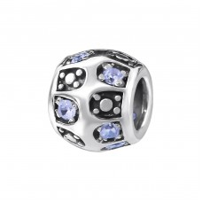 Round - 925 Sterling Silver Beads with Zirconia or Crystal A4S3766