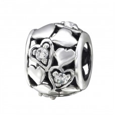 Heart - 925 Sterling Silver Beads with Zirconia or Crystal A4S3783