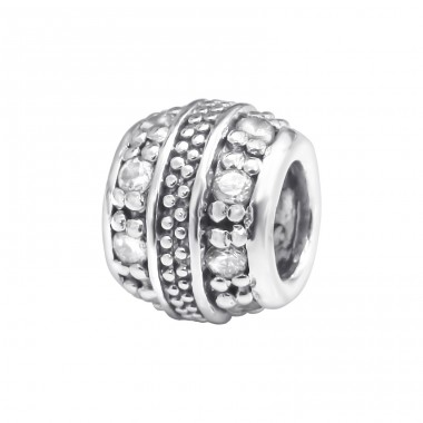 Round - 925 Sterling Silver Beads with Zirconia or Crystal A4S3784