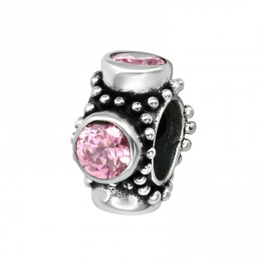 Round - 925 Sterling Silver Beads with Zirconia or Crystal A4S3791