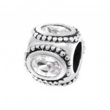 Round - 925 Sterling Silver Beads with Zirconia or Crystal A4S3793