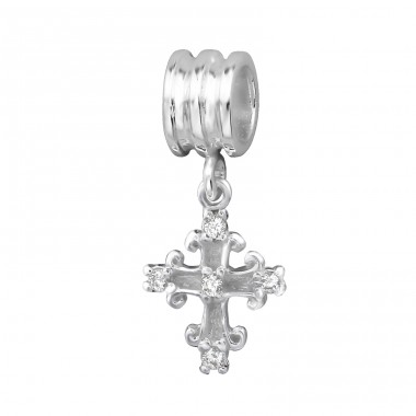 Hanging Cross - 925 Sterling Silver Beads with Zirconia or Crystal A4S3815