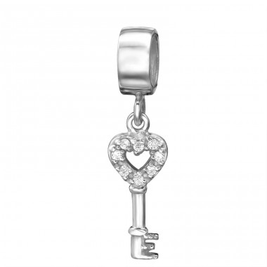 Hanging Key Heart - 925 Sterling Silver Beads with Zirconia or Crystal A4S4748