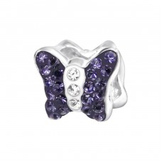 Butterfly - 925 Sterling Silver Beads with Zirconia or Crystal A4S4752