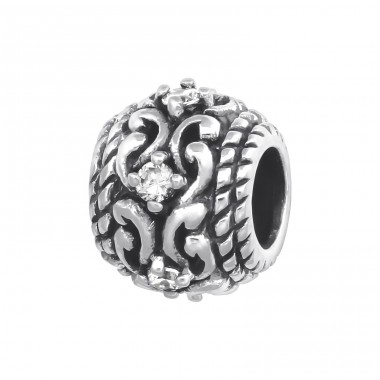 Round - 925 Sterling Silver Beads with Zirconia or Crystal A4S5593