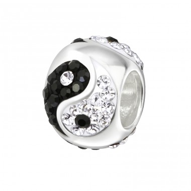 Yin Yang - 925 Sterling Silver Beads with Zirconia or Crystal A4S5830