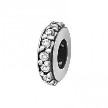 Round - 925 Sterling Silver Beads with Zirconia or Crystal A4S5831