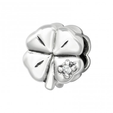 Shamrock - 925 Sterling Silver Beads with Zirconia or Crystal A4S6097