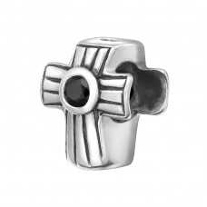 Cross - 925 Sterling Silver Beads with Zirconia or Crystal A4S6193