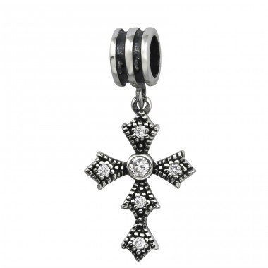 Hanging Cross - 925 Sterling Silver Beads with Zirconia or Crystal A4S6564