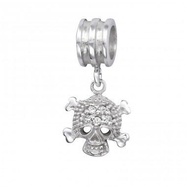 Hanging Skull - 925 Sterling Silver Beads with Zirconia or Crystal A4S6566