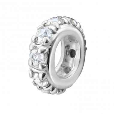 Round - 925 Sterling Silver Beads with Zirconia or Crystal A4S7487