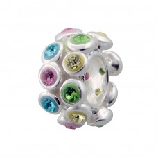 Round - 925 Sterling Silver Beads with Zirconia or Crystal A4S7496