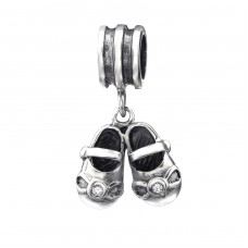 Hanging Shoes - 925 Sterling Silver Beads with Zirconia or Crystal A4S9426
