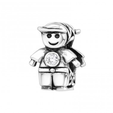 Boy Doll - 925 Sterling Silver Beads with Zirconia or Crystal A4S9519