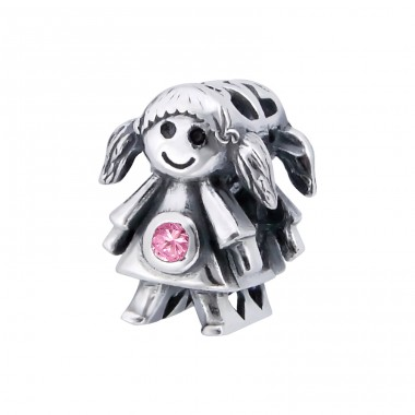 Girl Doll - 925 Sterling Silver Beads with Zirconia or Crystal A4S9520