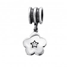 Hanging Flower - 925 Sterling Silver Beads with Zirconia or Crystal A4S9743