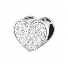Heart Face - 925 Sterling Silver Beads with Zirconia or Crystal A4S9935