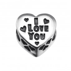 Heart I Love You - 925 Sterling Silver Beads with Zirconia or Crystal A4S9936