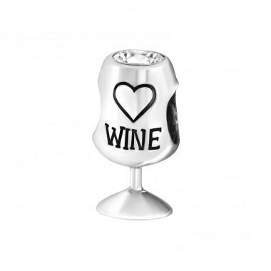 Wine Glass - 925 Sterling Silver Beads with Zirconia or Crystal A4S9996