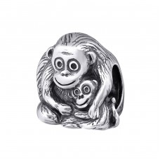 Sitting Monkey - 925 Sterling Silver Beads without stones A4S10219