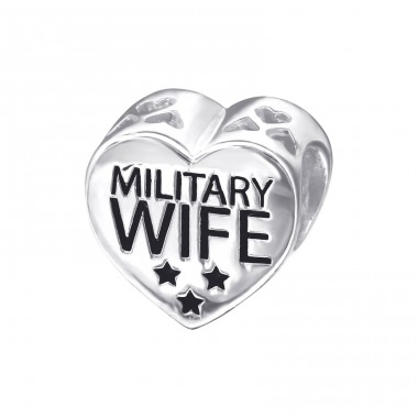 Heart Military Wife - 925 Sterling Silver Beads without stones A4S10304