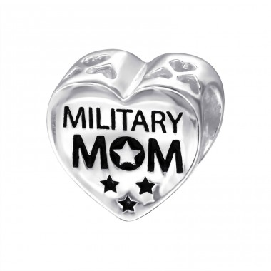 Heart Military Mom - 925 Sterling Silver Beads without stones A4S10305
