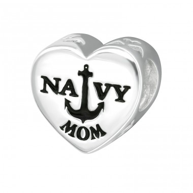 Heart Navy Mom - 925 Sterling Silver Beads without stones A4S10311