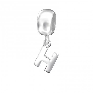 Hanging Initial H - 925 Sterling Silver Beads without stones A4S12066