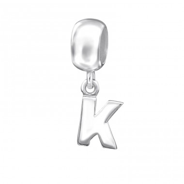 Hanging Initial K - 925 Sterling Silver Beads without stones A4S12069