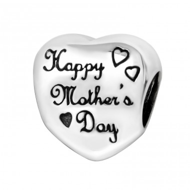 Heart Happy Mother's Day - 925 Sterling Silver Beads without stones A4S12932