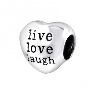 Heart Live Love Laugh - 925 Sterling Silver Beads without stones A4S12934