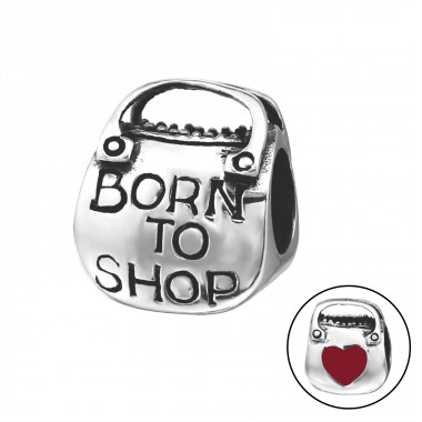 Shopping Bag Heart - 925 Sterling Silver Beads without stones A4S14705