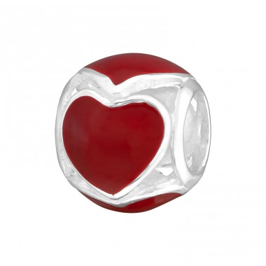 Heart Round - 925 Sterling Silver Beads without stones A4S17097