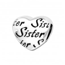 Heart Sister - 925 Sterling Silver Beads without stones A4S17127