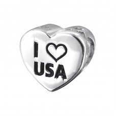 Usa Heart - 925 Sterling Silver Beads without stones A4S19832