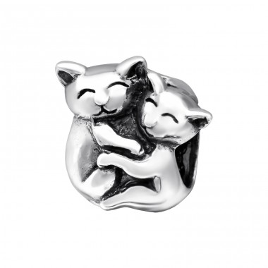 Hugging Cats - 925 Sterling Silver Beads without stones A4S28218