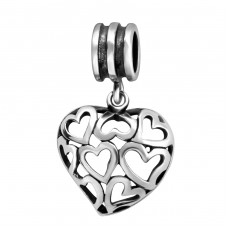 Hearts - 925 Sterling Silver Beads without stones A4S28221