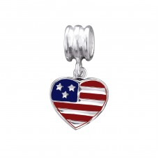 Usa Flag - 925 Sterling Silver Beads without stones A4S29521