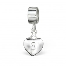 Hanging Heart - 925 Sterling Silver Beads without stones A4S4370