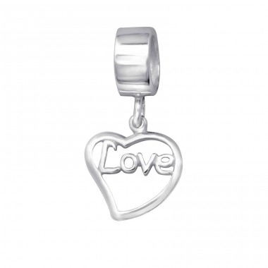 Hanging Heart Love - 925 Sterling Silver Beads without stones A4S6190