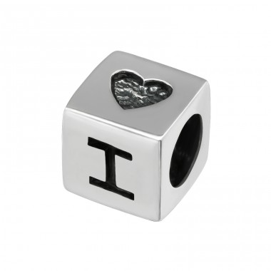 Square I Love You - 925 Sterling Silver Beads without stones A4S6916