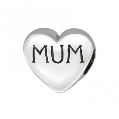 Heart Mum - 925 Sterling Silver Beads without stones A4S7492