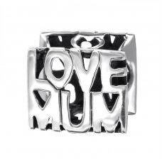 Love Mum - 925 Sterling Silver Beads without stones A4S9201
