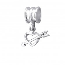 Hanging Heart - 925 Sterling Silver Beads without stones A4S9264