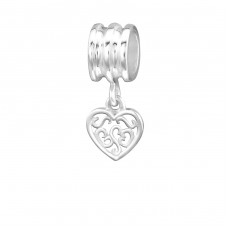 Hanging Heart - 925 Sterling Silver Beads without stones A4S9265