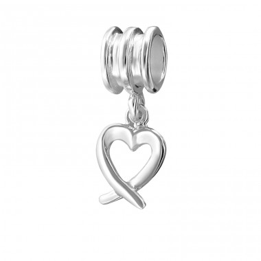 Hanging Heart - 925 Sterling Silver Beads without stones A4S9560